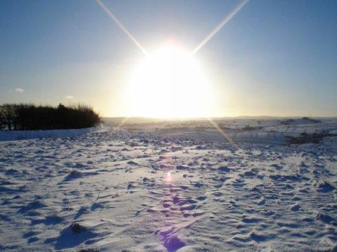 snow sun peak district